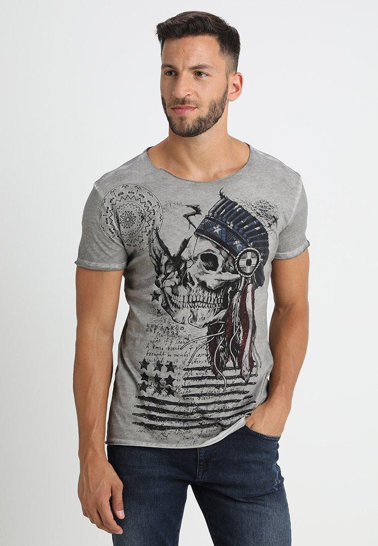 Key Largo - INDIAN SKULL - T-shirt imprimé - silver
