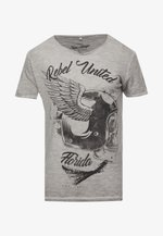 REBELS UNITED ROUND - T-shirt con stampa - silver
