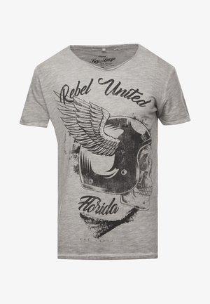 REBELS UNITED ROUND - Triko spotiskem - silver
