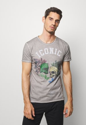 ICONIC ROUND - Print T-shirt - silver