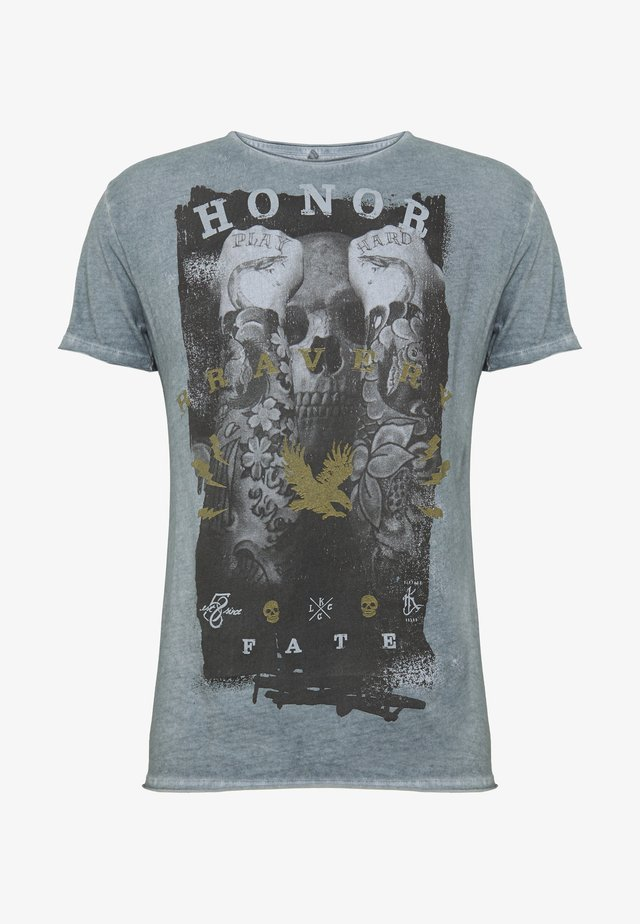 HONOR ROUND - T-shirt med print - steel blue