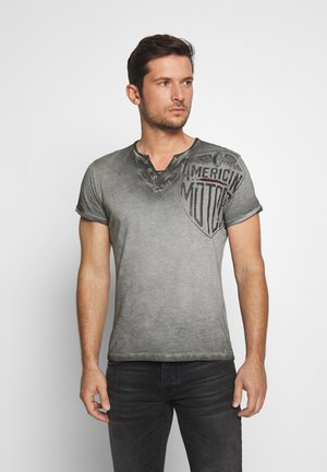 MOTORS BUTTON - T-shirt z nadrukiem - anthra