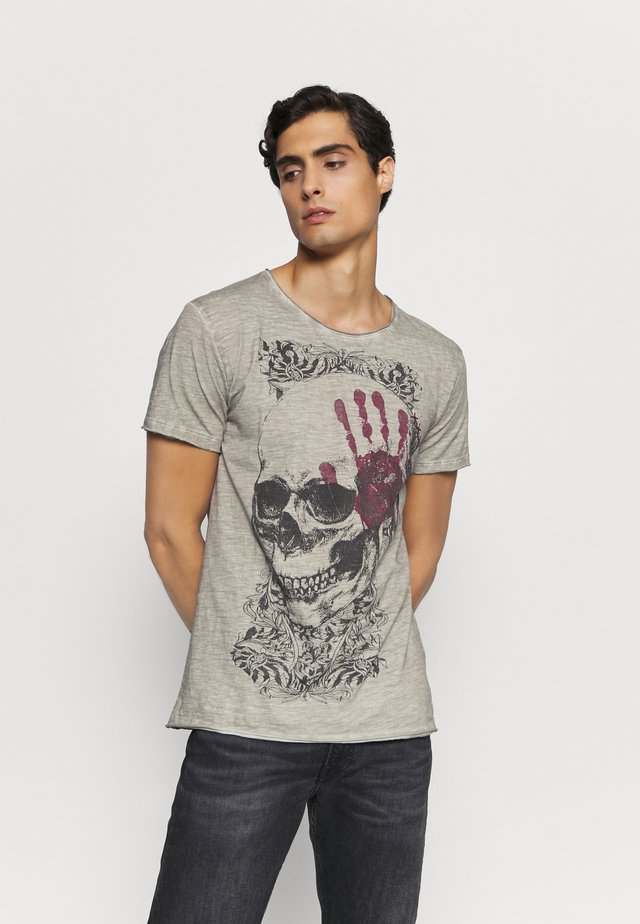 T-shirt med print - silver