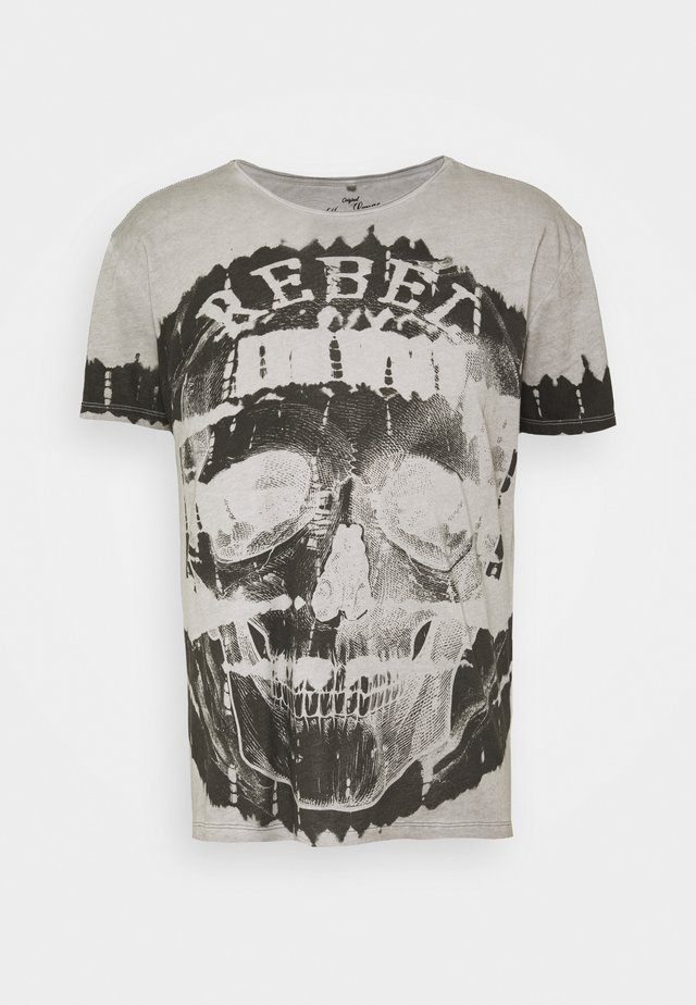 REBEL ROUND - T-shirt med print - silver