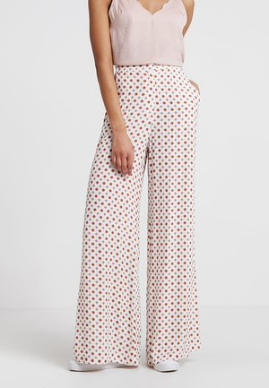 EMILY - Broek - offwhite/red