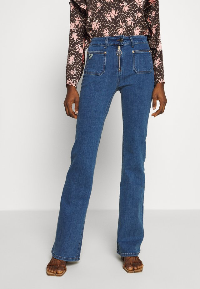 GAUCHO ZIP - Flared Jeans - stone