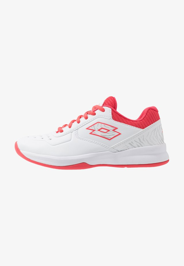 SPACE 600 II - All court tennisskor - all white/red fluo/silver metal