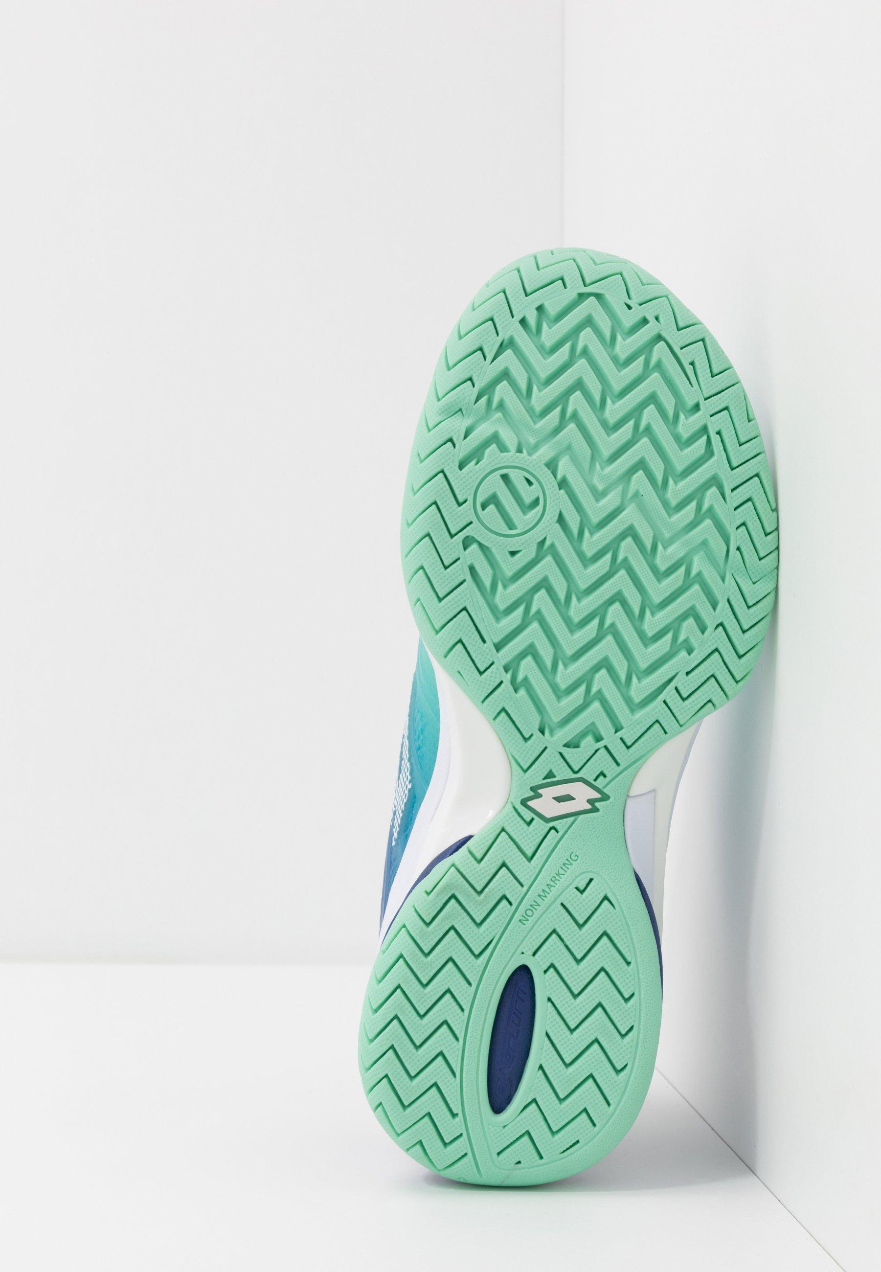 Lotto MIRAGE 300 II SPD - Buty tenisowe na nawierzchnię ziemną - green cabbage/all white/sodalite blue