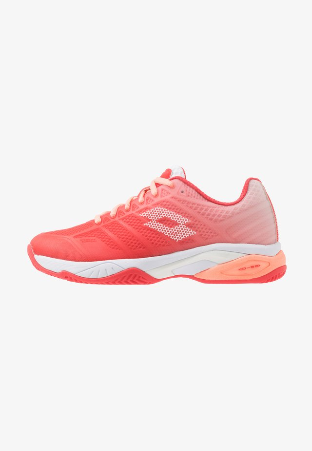 MIRAGE 300 II CLY - Clay court tennis shoes - red fluo/all white/sweet rose