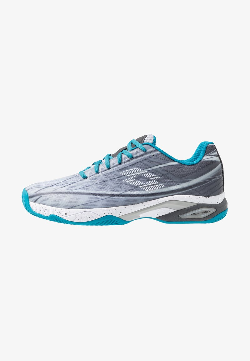 Lotto - MIRAGE 300 CLY - Chaussures de tennis pour terre-battueerre battue - silver metal/all white/mosaic blue