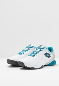 Lotto - SPACE 400 ALR - All court tennisskor - all white/asphalt/mosaic blue - 2