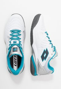 Lotto - SPACE 400 ALR - All court tennisskor - all white/asphalt/mosaic blue - 1