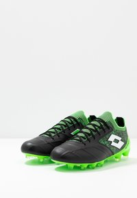 Lotto - STADIO 100 II FG - Chaussures de foot à crampons - all black/all white/spring green - 2