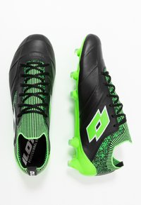 Lotto - STADIO 100 II FG - Chaussures de foot à crampons - all black/all white/spring green - 1