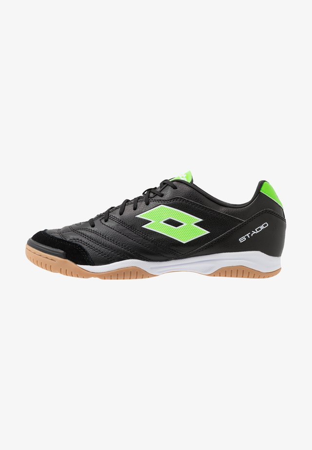 STADIO 300 II ID - Indoor football boots - all black/spring green