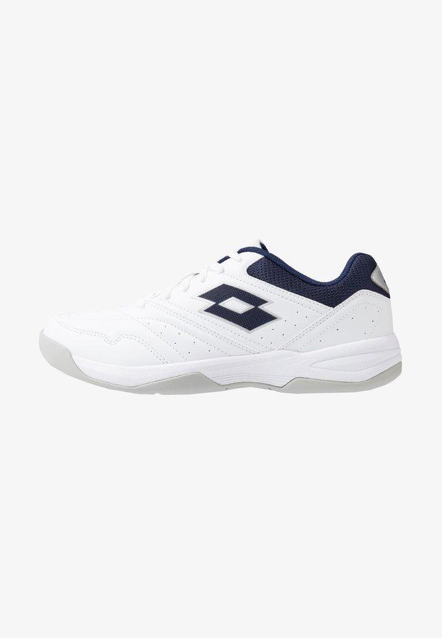 COURT LOGO XVIII - Clay court tennis shoes - all white/navy blue