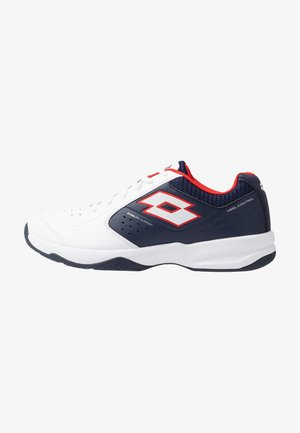 SPACE 600 II - Multicourt tennis shoes - all white/navy blue/red poppy