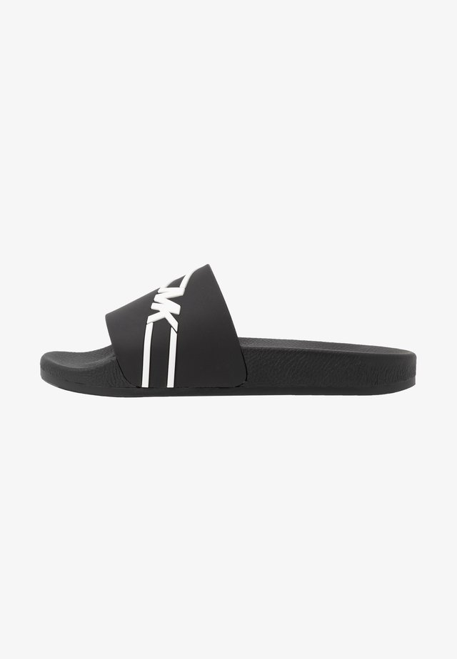 JAKE SLIDE - Pantofle - black/white