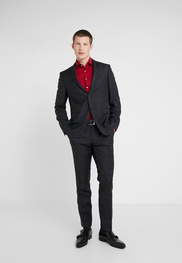 SLIM FIT CHECK SUIT - Traje - dark grey