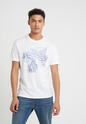 CREW NECK PRINTED PALM OUTLINE GRAPHIC - T-shirt med print - white