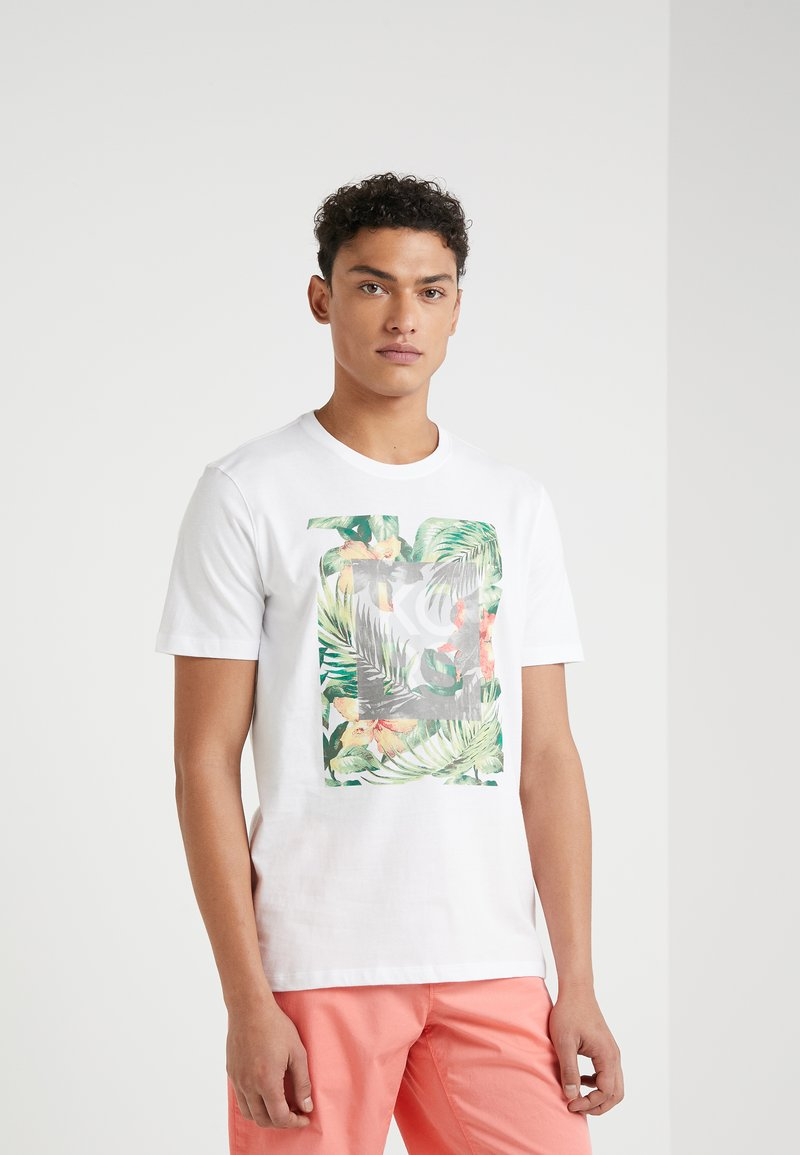 Michael Kors - CREW NECK PALM BLOCK GRAPHIC - T-shirt med print - white