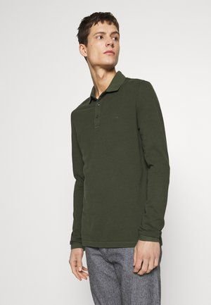 GARMENT DYE - Polo - mottled olive