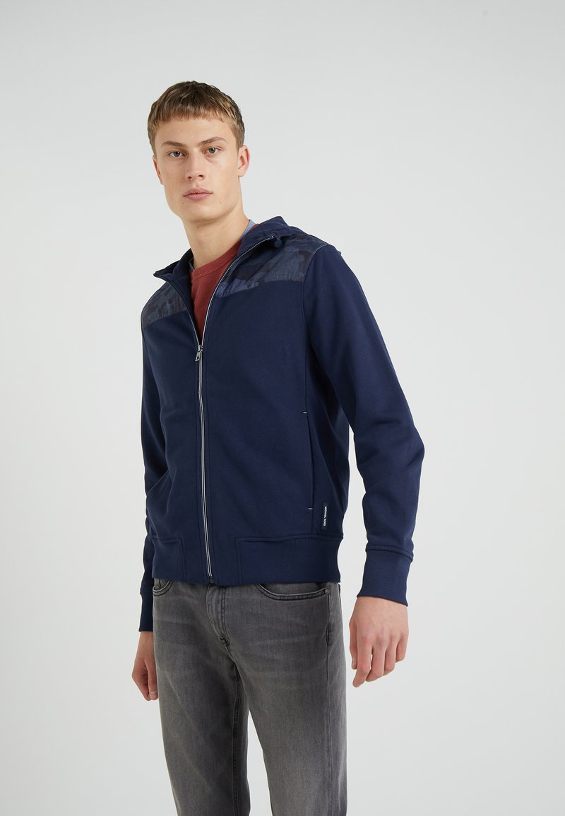 Michael Kors - MIXED MEDIA CHAMBRAY  FULL ZIP HOODIE - veste en sweat zippée - midnight