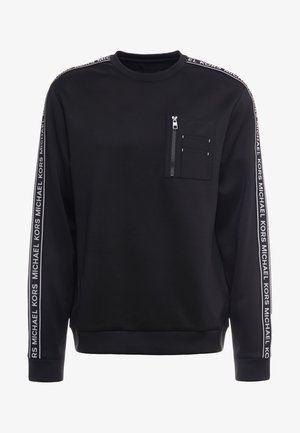MIXED MEDIA CHEST POCKET CREW NECK - Felpa - black
