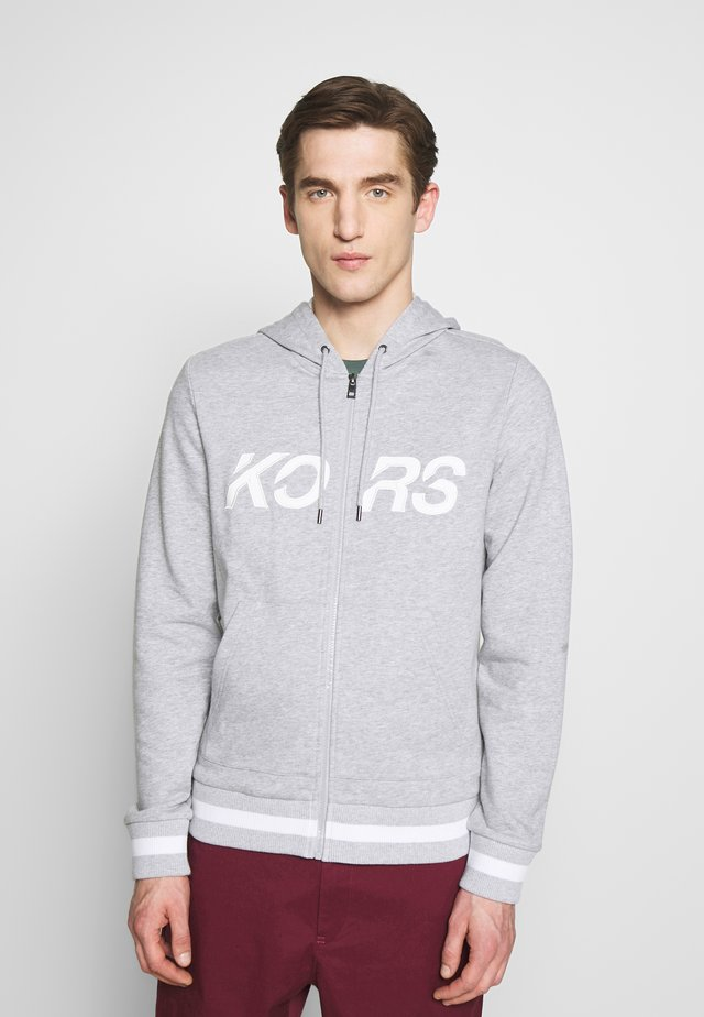 SLANT KORS HOODIE - Huvtröja med dragkedja - heather grey