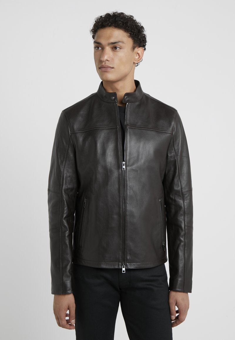 Michael Kors - BASIC RACER JACKET - Lederjacke - chocolate