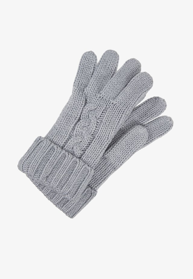 STRIPED CABLE GLOVE - Fingervantar - heather grey