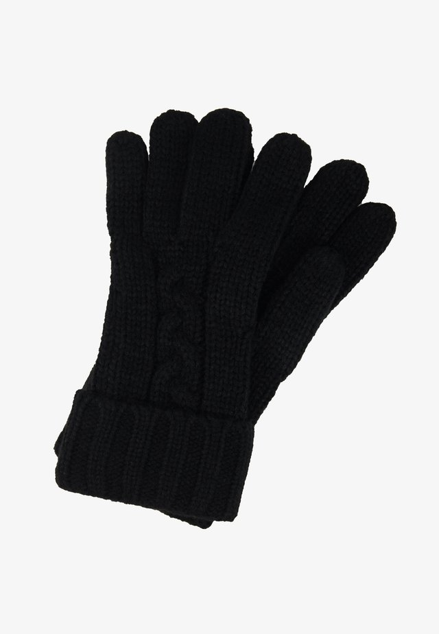 STRIPED CABLE GLOVE - Sormikkaat - black