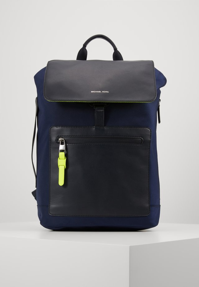 BROOKLYN FLAP BACKPACK - Zaino - navy/neon yellow