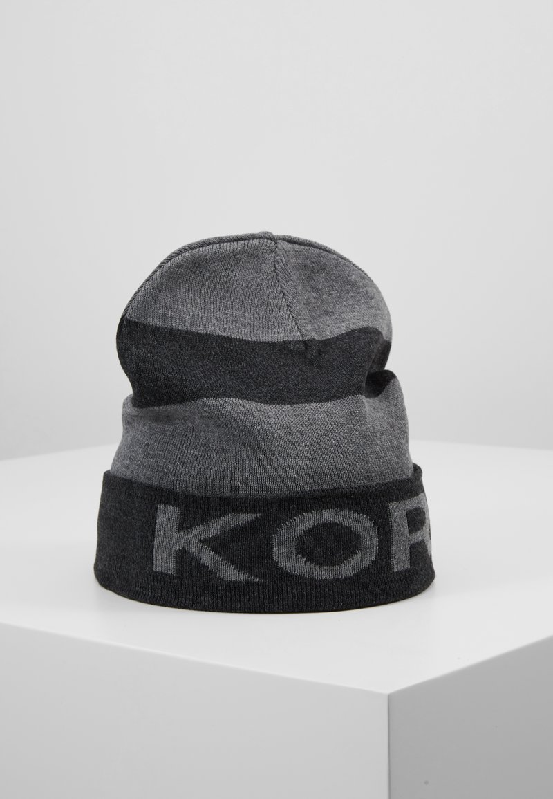 Michael Kors - BOTTOM STRIPE LOGO CUFF HAT - Mütze - charcoalmelange/ash melange/black