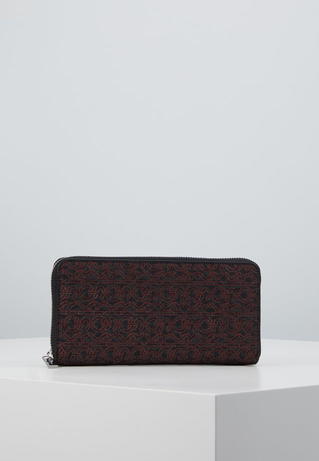 GREYSON ZIP AROUND - Wallet - black/crimson
