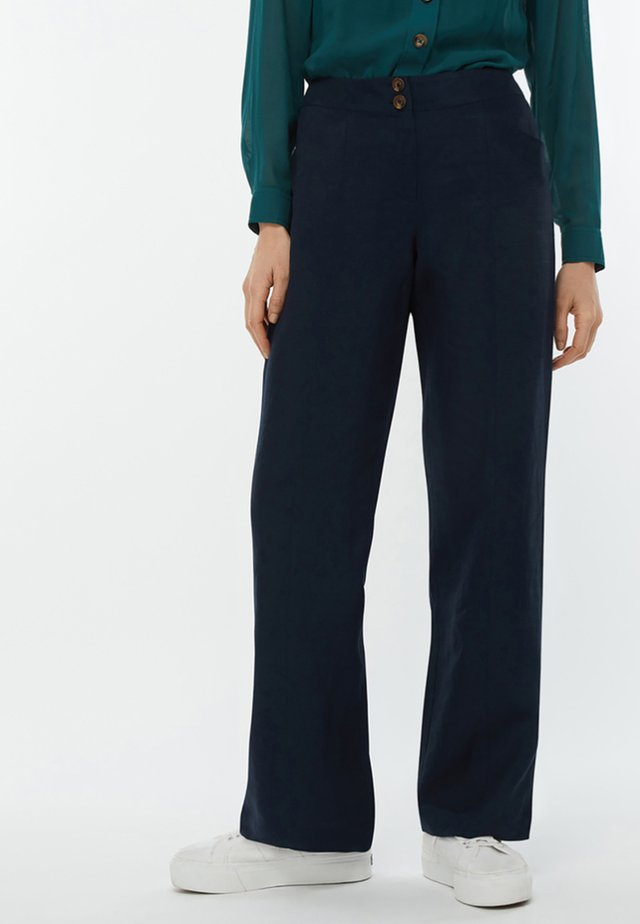 EMMA REG LINEN - Trousers - dark blue