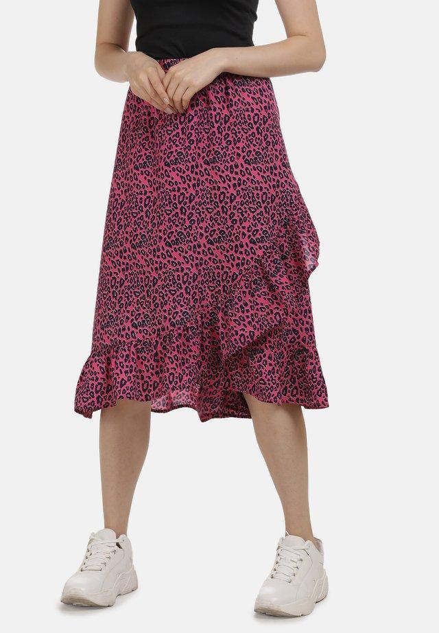 Spódnica trapezowa - neon pink leo