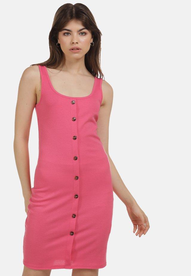 Košilové šaty - neon pink
