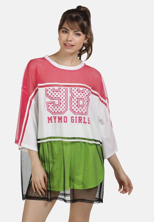 SHIRT - Long sleeved top - neon pink weiss schw