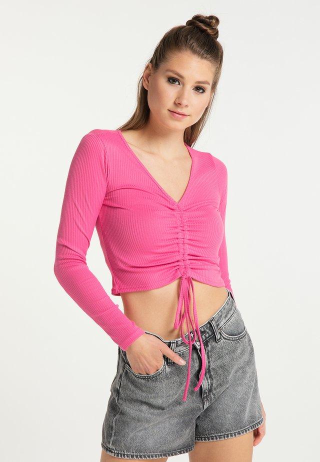Bluzka z długim rękawem - neon pink