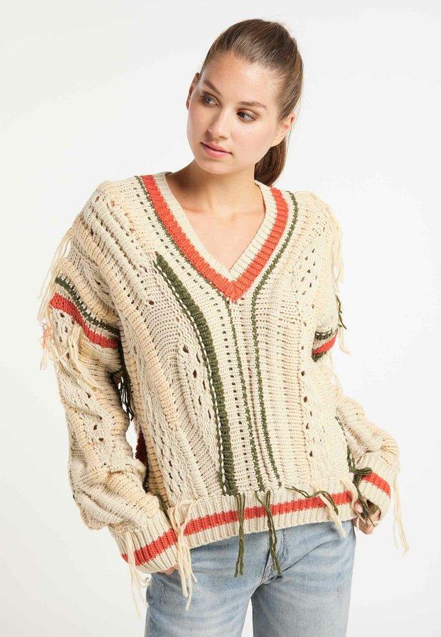 Sweter - beige/orange