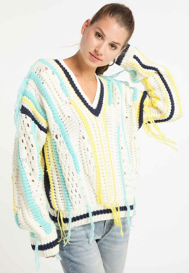 Sweter - white/blue