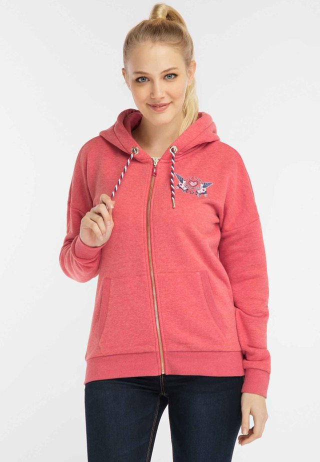 Zip-up hoodie - red melange