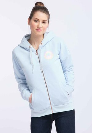 Zip-up hoodie - mottled light blue