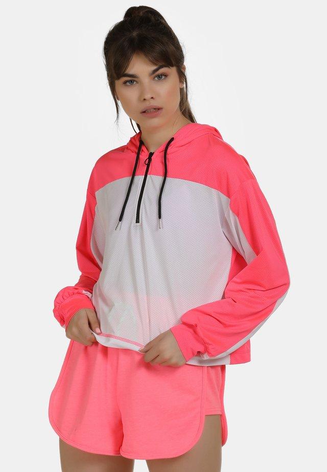 Bluza z kapturem - neon pink/white