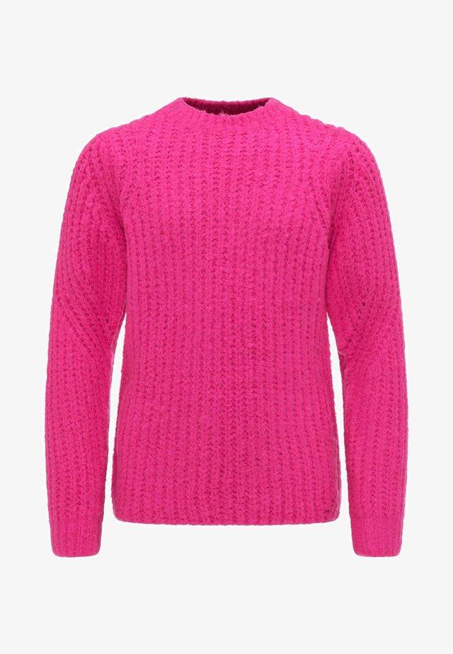 Stickad tröja - neon pink