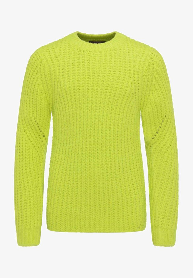 Stickad tröja - neon green