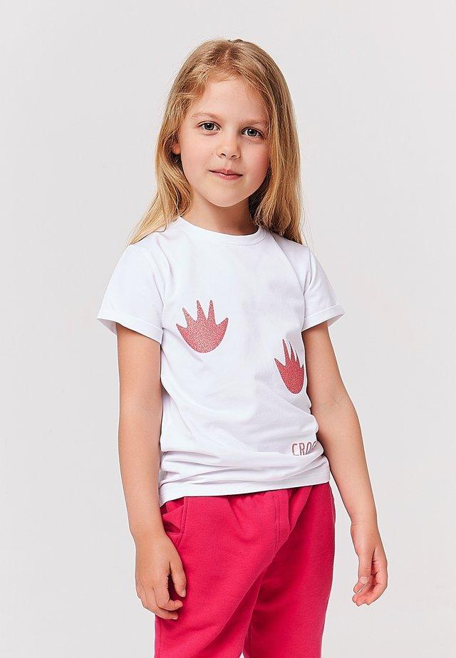 Print T-shirt - weiss pink