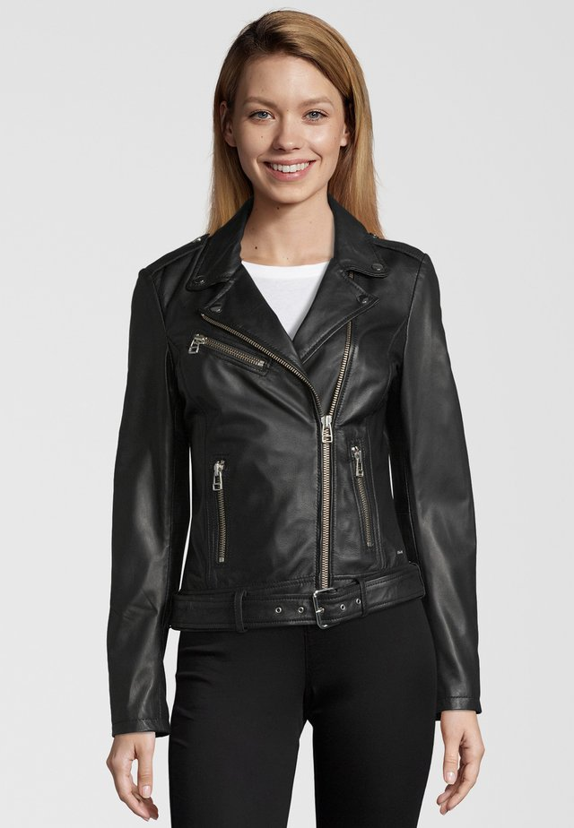 LEDERJACKE JIRAY - Leather jacket - black