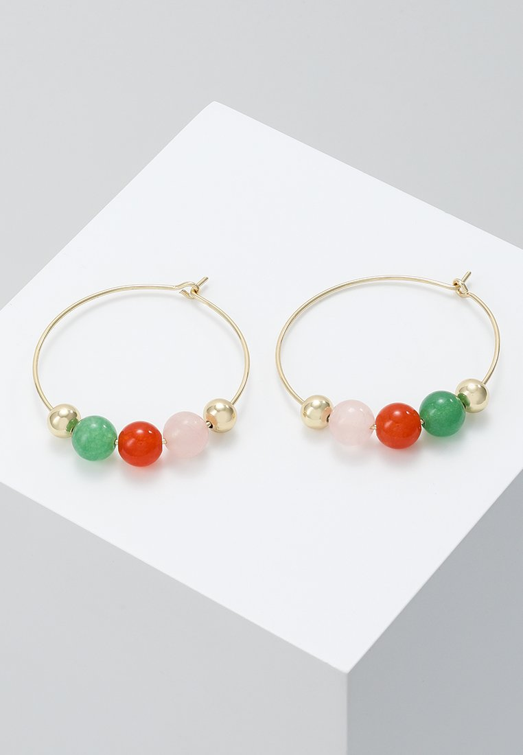 SNÖ of Sweden - RIMII RING EAR MIX - Pendientes - gold-coloured/pink/green